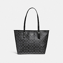 COACH F58292 City Zip Tote SILVER/BLACK SMOKE