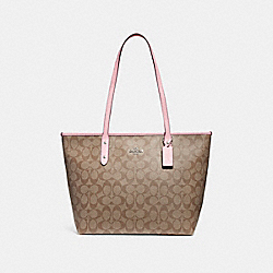COACH CITY ZIP TOTE - SILVER/KHAKI BLUSH 2 - F58292
