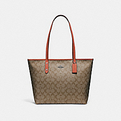 COACH F58292 - CITY ZIP TOTE KHAKI/ORANGE RED/SILVER