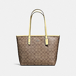 COACH F58292 City Zip Tote In Signature Canvas KHAKI/VANILLA/SILVER