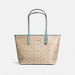 COACH F58292 City Zip Tote In Signature Canvas SVNKA