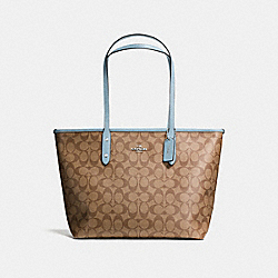 COACH F58292 - CITY ZIP TOTE IN SIGNATURE CANVAS KHAKI/PALE BLUE/SILVER