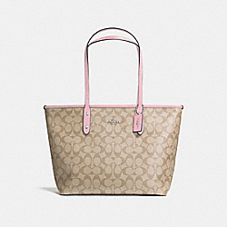 COACH F58292 City Zip Tote In Signature Canvas LIGHT KHAKI/CARNATION/SILVER