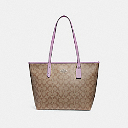 COACH F58292 City Zip Tote In Signature Canvas KHAKI/JASMINE/SILVER