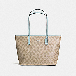 COACH F58292 City Zip Tote In Signature Canvas LIGHT KHAKI/SEAFOAM/SILVER