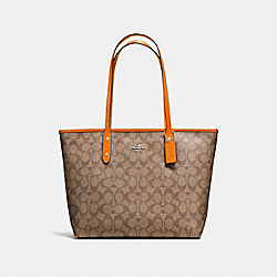 COACH F58292 City Zip Tote In Signature Canvas KHAKI/DARK ORANGE/SILVER