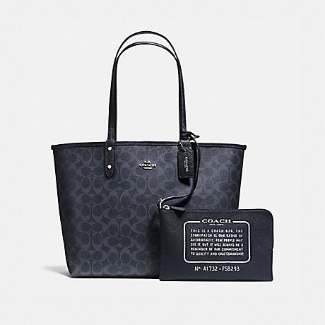 COACH f58293 REVERSIBLE CITY TOTE IN DENIM SIGNATURE SILVER/DENIM MIDNIGHT