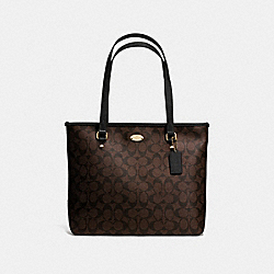 COACH F58294 Zip Top Tote In Signature IMITATION GOLD/BROWN/BLACK