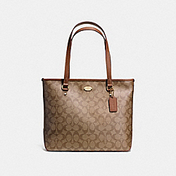 COACH F58294 Zip Top Tote In Signature IMITATION GOLD/KHAKI/SADDLE