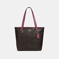 ZIP TOP TOTE - f58294 - LIGHT GOLD/BROWN ROUGE