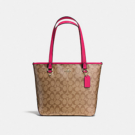 COACH f58294 ZIP TOP TOTE IN SIGNATURE IMITATION GOLD/KHAKI BRIGHT PINK