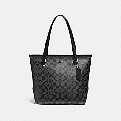 COACH F58294 Zip Top Tote SILVER/BLACK SMOKE