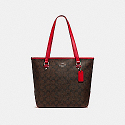 COACH F58294 Zip Top Tote SILVER/BROWN TRUE RED