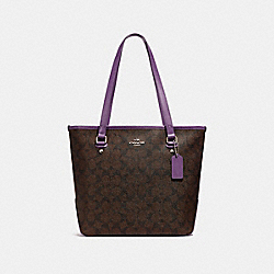 ZIP TOP TOTE - f58294 - SILVER/BROWN