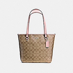 COACH F58294 - ZIP TOP TOTE SILVER/KHAKI BLUSH 2