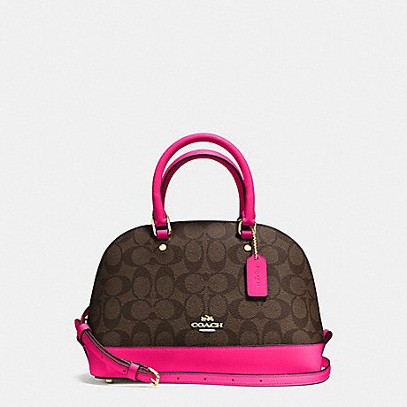 4e681f43649be COACH f58295 MINI SIERRA SATCHEL IN SIGNATURE COATED CANVAS IMITATION GOLD/ BROWN