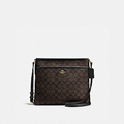 COACH F58297 File Bag In Signature IMITATION GOLD/BROWN/BLACK