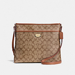 COACH F58297 - FILE BAG IN SIGNATURE IMITATION GOLD/KHAKI/SADDLE