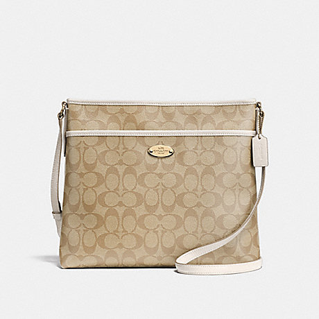 COACH F58297 FILE BAG IN SIGNATURE CANVAS LIGHT-KHAKI/CHALK/LIGHT-GOLD