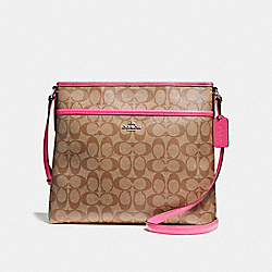 COACH F58297 File Bag In Signature Coated Canvas SILVER/KHAKI/MAGENTA