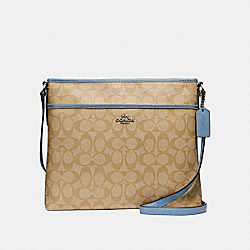 COACH FILE BAG IN SIGNATURE CANVAS - LIGHT KHAKI/POOL/SILVER - F58297
