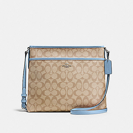 COACH f58297 FILE BAG IN SIGNATURE SILVER/LIGHT KHAKI/CORNFLOWER