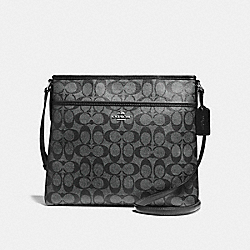 COACH F58297 File Bag In Signature Coated Canvas SILVER/BLACK SMOKE