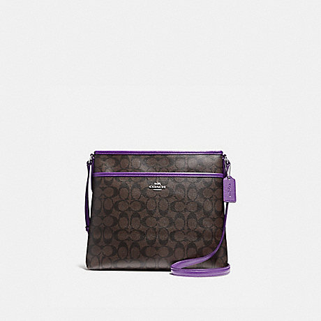 COACH f58297 FILE BAG SILVER/BROWN