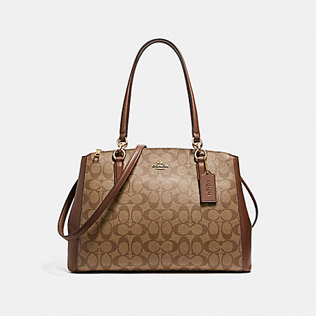 COACH f58305 CHRISTIE CARRYALL IN SIGNATURE COATED CANVAS LIGHT GOLD/KHAKI