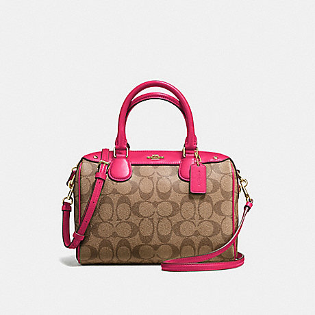 COACH f58312 MINI BENNETT SATCHEL IN SIGNATURE COATED CANVAS IMITATION GOLD/KHAKI/BRIGHT PINK
