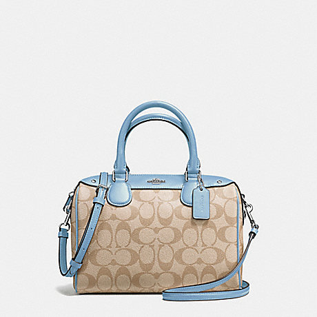 COACH f58312 MINI BENNETT SATCHEL IN SIGNATURE SILVER/LIGHT KHAKI/CORNFLOWER