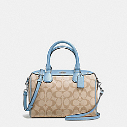 MINI BENNETT SATCHEL IN SIGNATURE - f58312 - SILVER/LIGHT KHAKI/CORNFLOWER