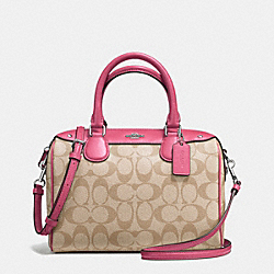 MINI BENNETT SATCHEL IN SIGNATURE - f58312 - SILVER/LIGHT KHAKI/STRAWBERRY