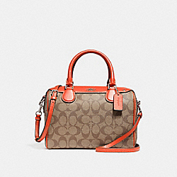 COACH F58312 Mini Bennett Satchel KHAKI/ORANGE RED/SILVER