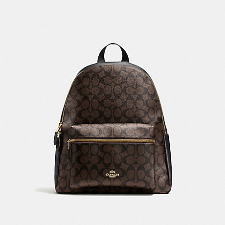 COACH F58314 CHARLIE BACKPACK IN SIGNATURE CANVAS BROWN/BLACK/LIGHT-GOLD