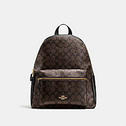 COACH F58314 - CHARLIE BACKPACK IN SIGNATURE CANVAS BROWN/BLACK/LIGHT GOLD
