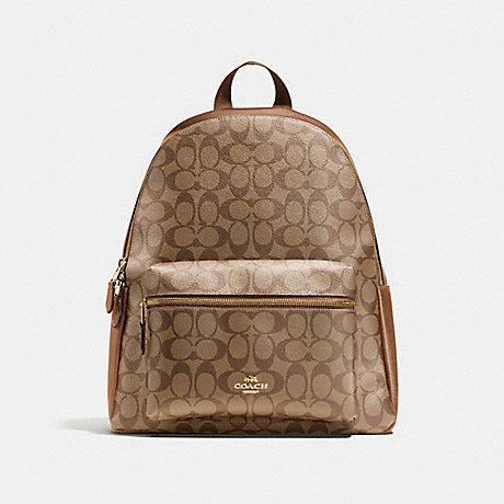 1195a3b31e4 ... get coach f58314 charlie backpack in signature imitation gold khaki  saddle b86fb 58e81
