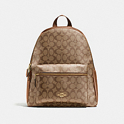COACH F58314 Charlie Backpack In Signature IMITATION GOLD/KHAKI/SADDLE