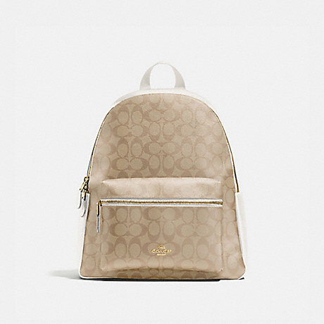 COACH F58314 CHARLIE BACKPACK IN SIGNATURE CANVAS IM/LIGHT-KHAKI-CHALK