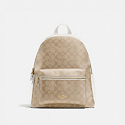 CHARLIE BACKPACK IN SIGNATURE CANVAS - F58314 - IM/LIGHT KHAKI CHALK