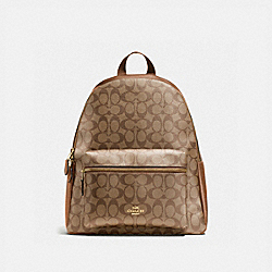 COACH F58314 Charlie Backpack In Signature Canvas KHAKI/SADDLE 2/LIGHT GOLD