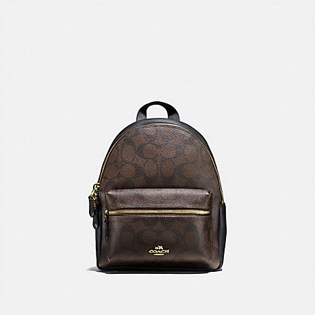 COACH F58315 MINI CHARLIE BACKPACK IN SIGNATURE CANVAS BROWN/BLACK/LIGHT-GOLD