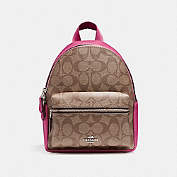 COACH F58315 Mini Charlie Backpack SILVER/KHAKI/MAGENTA