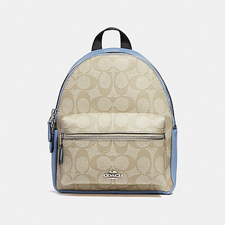 COACH f58315 MINI CHARLIE BACKPACK LIGHT KHAKI/POOL/SILVER