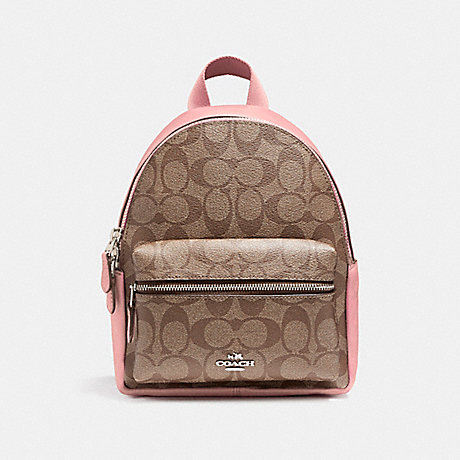 COACH f58315 MINI CHARLIE BACKPACK SILVER/KHAKI BLUSH 2