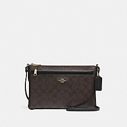 EAST/WEST CROSSBODY WITH POP UP POUCH IN SIGNATURE - f58316 - IMITATION GOLD/BROWN/BLACK