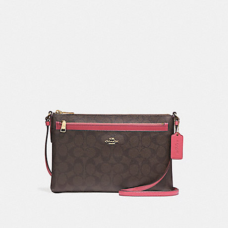 COACH f58316 EAST/WEST CROSSBODY WITH POP-UP POUCH<br>蔻驰EAST/WEST论与弹袋 光金/红褐色