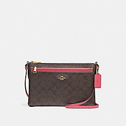 EAST/WEST CROSSBODY WITH POP-UP POUCH - f58316 - LIGHT GOLD/BROWN ROUGE