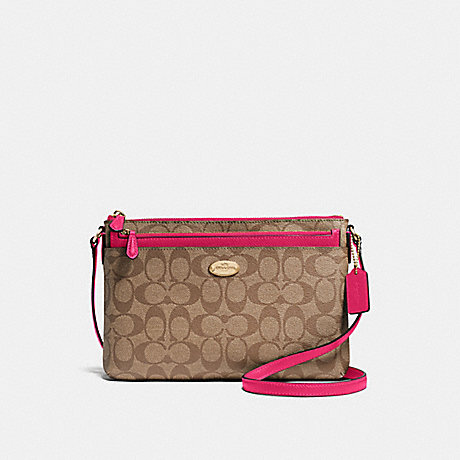 COACH f58316 EAST/WEST CROSSBODY WITH POP-UP POUCH IN SIGNATURE IMITATION GOLD/KHAKI BRIGHT PINK
