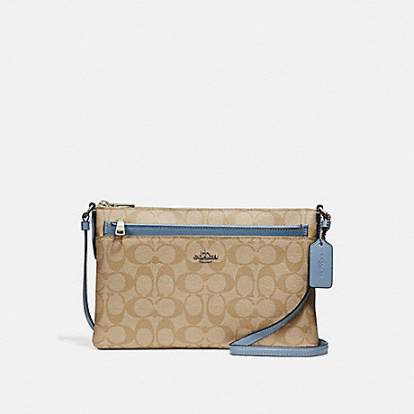 COACH f58316 EAST/WEST CROSSBODY WITH POP-UP POUCH<br>蔻驰EAST/WEST论与弹袋 光卡其/池/银